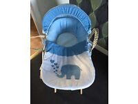 Blue kinder valley Elliot the elephant Moses basket with stand