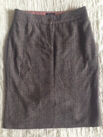 Women's Ted Baker Wool & Silk Brown & Mixed Colour Pleated Skirt Size 3