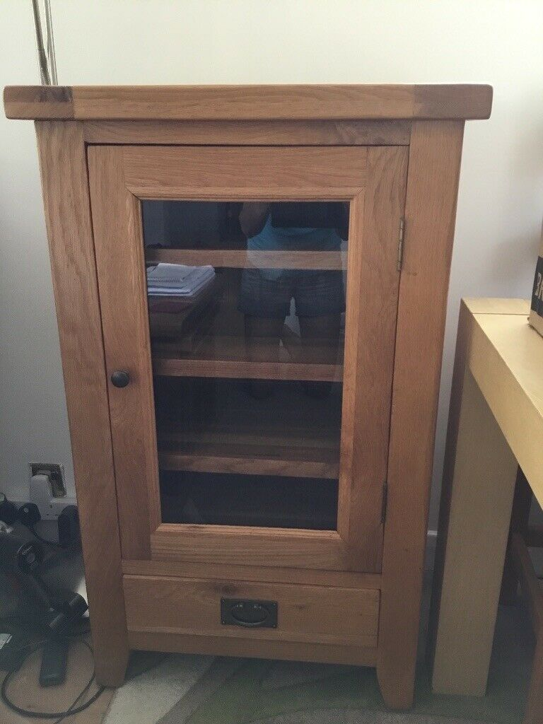 Solid Oak 1 Door Drawer Hi Fi Cabinet