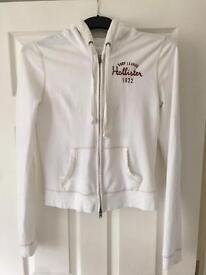 Ladies Hollister white zip up hoody size medium