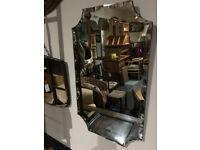 Very Nice Vintage 1930's Art Deco Frameless Bevelled Scalloped Edge Wall Mirror