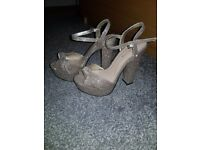 Ladies size 4 gold glitter heels newlook