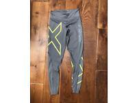 Grey Slate / Lemon 2XU Compression Running Gym Leggings BNWT Size XS