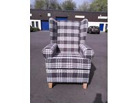 Charcoal Check Wing/Fireside Chair - Still Packaged