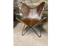 Brown Leather Butterfly Retro Chair