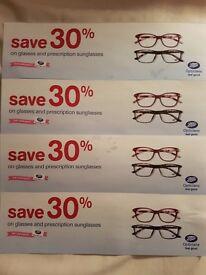 Boots opticians 30% off complete glasses specs discount voucher. BIG SAVING!
