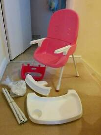 Pink Ikea style highchair, converts to small chair