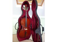 Cello 3/4 size + Bow + Endpin Stop + Hard case + Rosin brand new condition