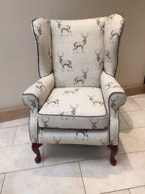 Restored fireside armchair / wingback chair