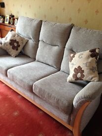 Nearly New Three Piece Suite, 3 seater settee & 2 matching armchairs in Caledonian Cord & Light Wood