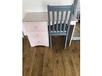 Pink desk dressing table with top glass and chair