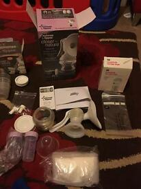 Breastfeeding pump, storage bags and pots