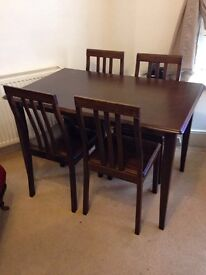 Dark Mahogany Dining Table with 4 Chairs