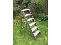 HEAVY DUTY OLD WOODEN SWING BACK STEP LADDERS 6 STEPS POSSIBLY EX-DECORATOR'S