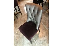 8 sparkly purple and gunmetal studded dining chairs