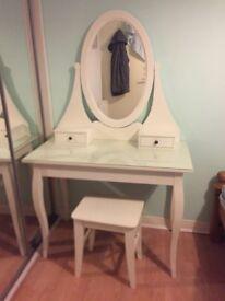 Ikea Hemnes Dressing Table - white & stool