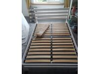 White double bed frame includes 13 new slats