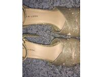 Size 5 sparkly gold heels