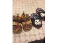 Infant size 6 sandal and slippers