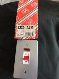 45A DP switch, metal, surface mounted, pilot lamp (supplied with mounting box).
