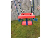 ELC red/blue baby swing seat with adjustable waist safety belt