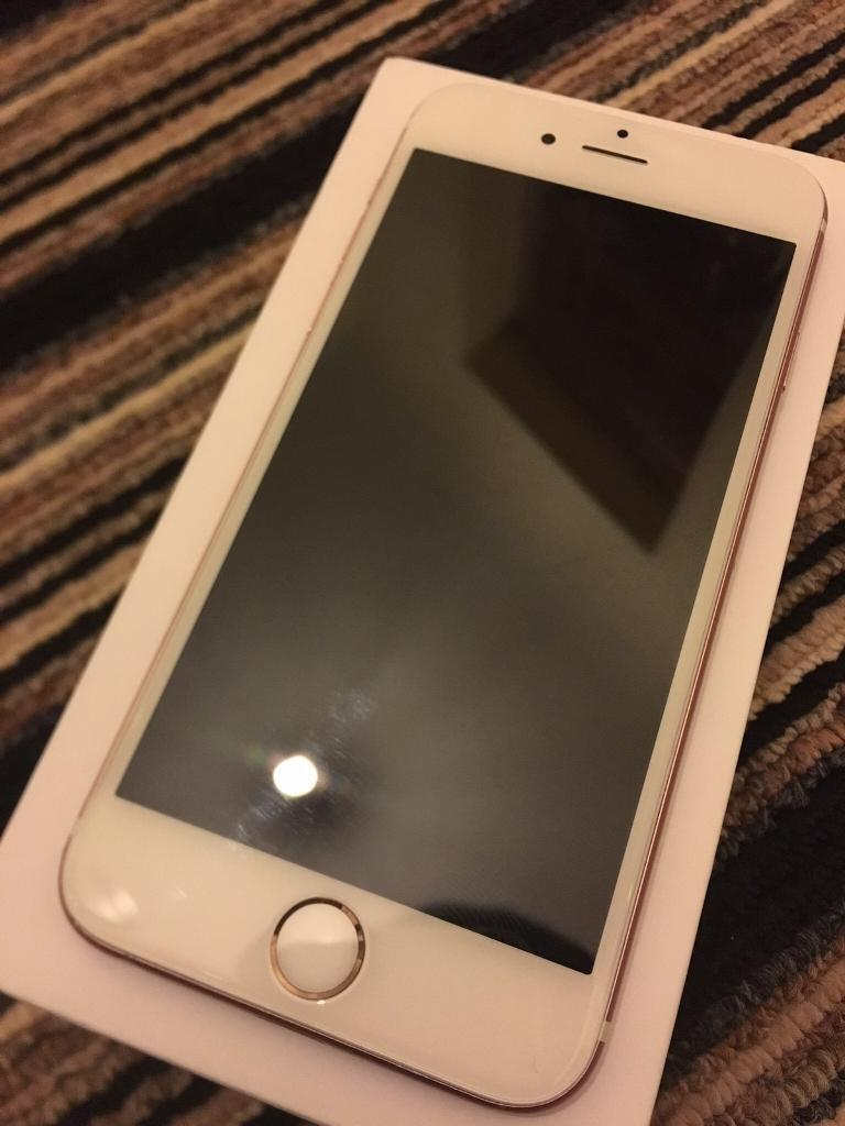 iPhone 6s Rose Gold (O2in Sherwood, NottinghamshireGumtree - IPhone 6s Rose Gold working in good order, in perfect condition, has a minor dent at the back, finger print function doesnt work, but the home button is functioning Includes IPhone 6s 16GB (O2)Box Charger 220