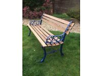 Garden Bench Seat Outdoor Park wooden 3 seater Bench Wrought Iron legs Refurbished great cond £28