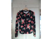 Women's black zipped hoodie with rose print size M