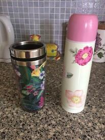 Flask and travel mug cute flowers