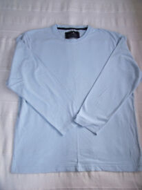 Stone Bay, Rhode Island pale blue 100% Fairtrade cotton, round neck, long sleeve man's top. Size M