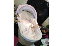 Vintage love and kisses Moses basket