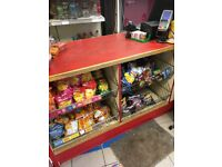 Retail shop shelves and counter