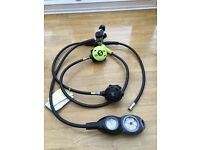 Scubapro Regulator R380 2nd Stage, R190 Octopus and Suunto CB Double Inline gauges