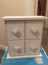 Shabby Chic White Heart Four Drawer Box