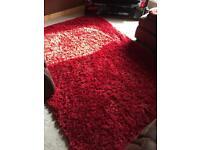 Hugh Red soft shaggy rug