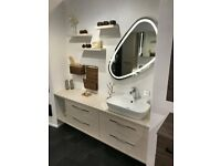 Dansani Luna 2 x 80cm Vanity units, 2 Worktops, basin, LED Mirror + Accessories Champagne