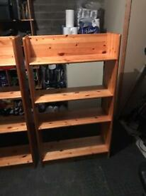 2x wooden shelf units
