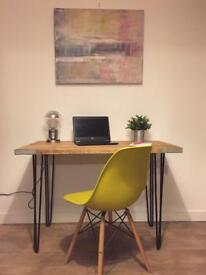 Solid hand made industrial style table desk/bureau/sideboard- different sizes upon request