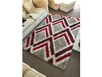Red and beige patterned shaggy rug 230x160cm (2 available)