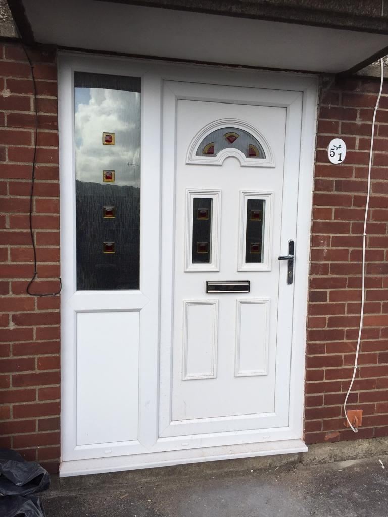 Upvc front door and side panel all one unit in risca for Front door and side panel