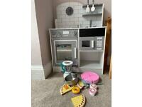 Wooden play toy kitchen with food and accessories
