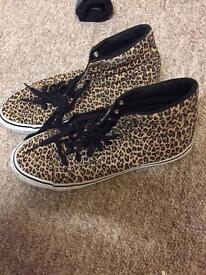 Leopard print vans high tops size 5