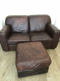 Rustic Distressed Soft Leather Two Seater Sofa and Foot Stool