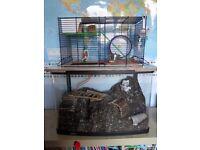 Gerbil hamster rat habitat gerbilarium childs pet bedding cage wheel drink bottle toys carrier hay