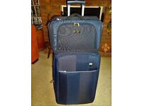 'ANTLER' TWO WHEELED SUITCASE IN BLUE AND CABIN BAG plus original padlocks and keys