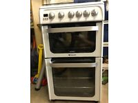 Hotpoint free standing gas double oven, grill and hob