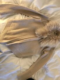 Brown oasis cardigain with fur size xsmall