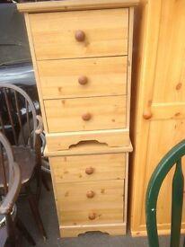 Pine effect bedside cabinets