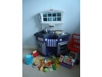 Little Tikes Country Kitchen with lots of extras (Till, Food, Trolley, Kettle, Toaster)