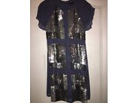 French Connection Blue and Silver Sequin Dress